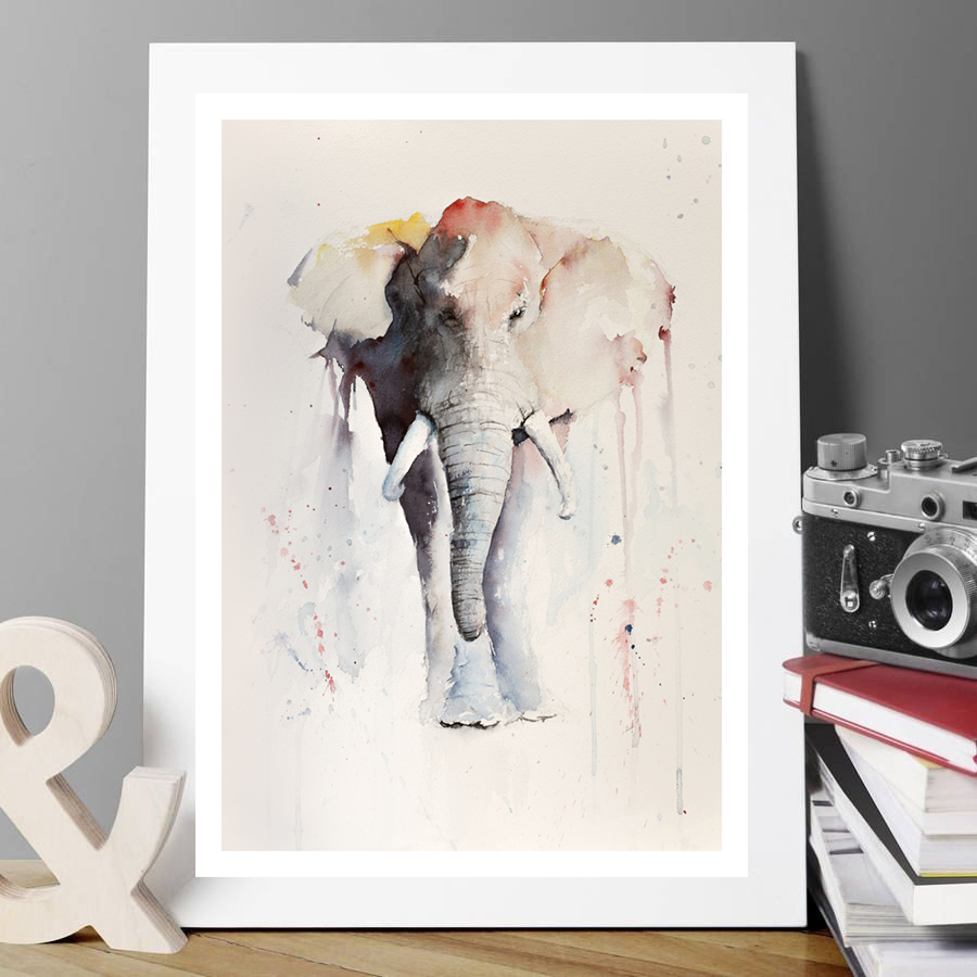 Keith\'s Elephant (Giclée Print open edition) - Watercolour Paintings