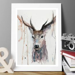 watercolour stag